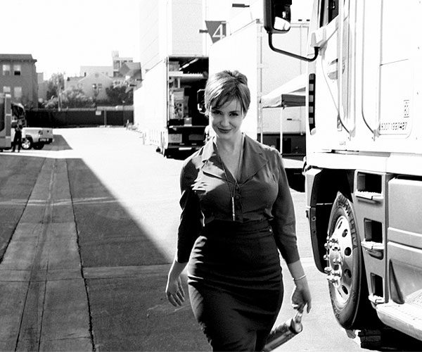Christina Hendricks on Mad men set