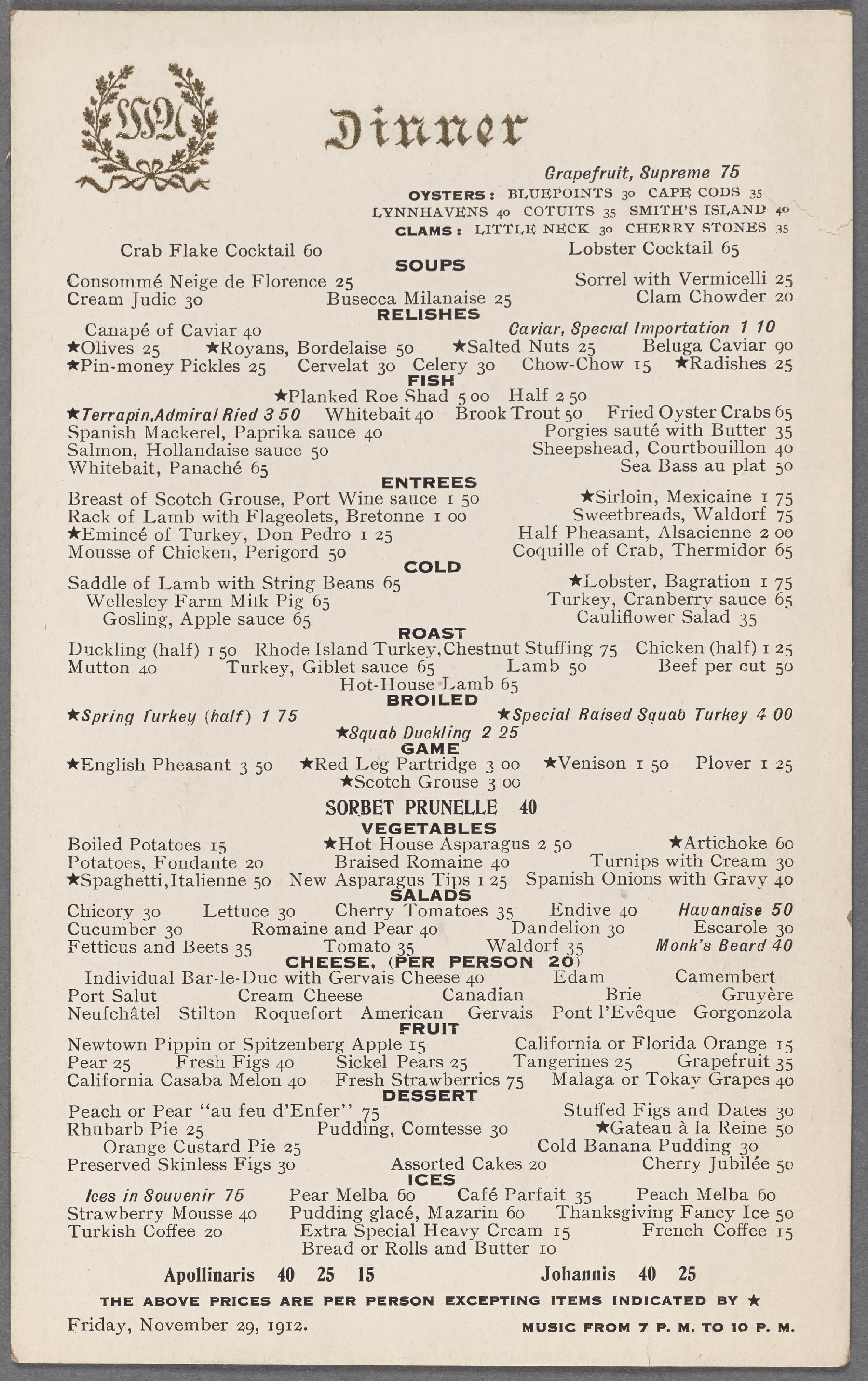 waldorf astoria dinner 1912